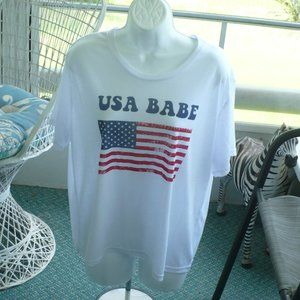 ❤️ Icing USA BABE Red, White & BLUE T-Shirt Top OS